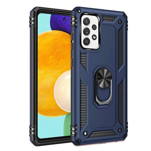 Samsung Galaxy A52 Magnetic Ring Rugged Shockproof Case Heavy Duty Protective Back Cover (Navy Blue)