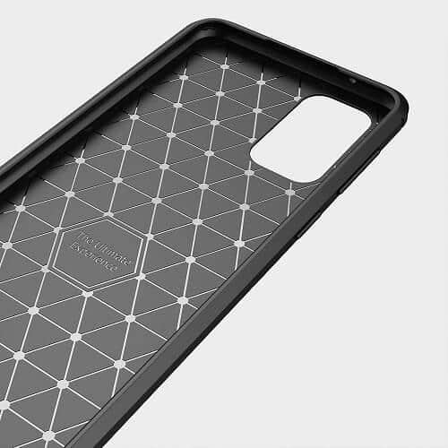 Samsung Galaxy A52 Rugged Shockproof Case Carbon Fiber Heavy Duty Rugged Cover (Black)