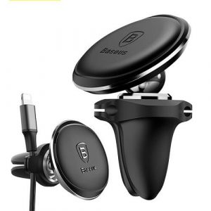Baseus Magnetic Car Phone Holder 360 Rotation Air Vent Mount Mobile Phone Holder Stand with Cable Clip in Car For Oppo