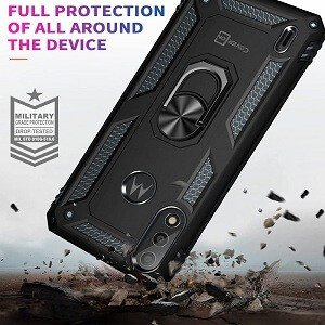 Motorola Moto E7 Power Magnetic Ring Rugged Shockproof Case Heavy Duty Protective Back Cover (Black)