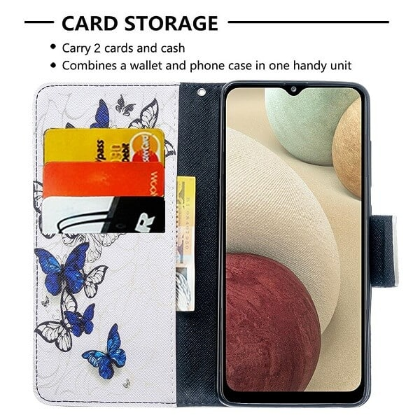 Samsung Galaxy A12 Wallet Case Flip Leather Card Slots Magnetic Stand Cover (White Butterfly)