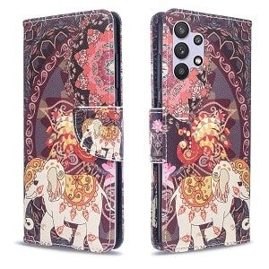 Samsung Galaxy A32 4G Wallet Case Flip Leather Card Slots Magnetic Stand Cover (Elephant)