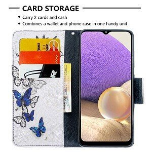 Samsung Galaxy A32 Wallet Case Flip Leather Card Slots Magnetic Stand Cover (White Butterfly)