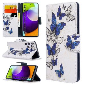Samsung Galaxy A52 Wallet Case Flip Leather Card Slots Magnetic Stand Cover (White Butterfly)