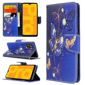 Optus X Pro Wallet Case Flip Leather Card Slots Magnetic Stand Cover (Blue Butterfly)..
