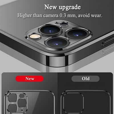 Apple iPhone 11 Pro Max Clear Case Luxury Plating Transparent Hard PC Back Cover (Black)