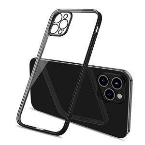 Apple iPhone 11 Pro Clear Case Luxury Plating Transparent Hard PC Back Cover (Black)