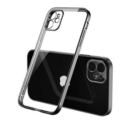 Apple iPhone 12 Clear Case Luxury Plating Transparent Hard PC Back Cover (Black)