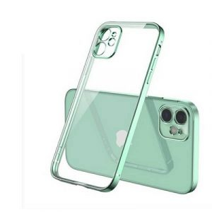Apple iPhone 12 Clear Case Luxury Plating Transparent Hard PC Back Cover (Light Green)