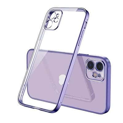 Apple iPhone 12 Clear Case Luxury Plating Transparent Hard PC Back Cover (Purple)