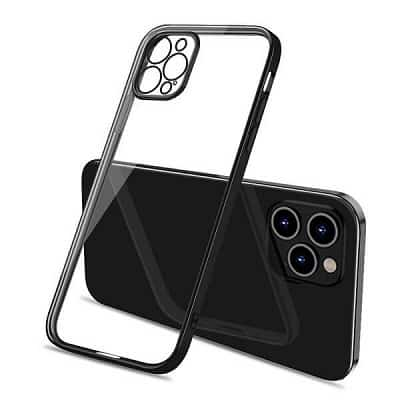 Apple iPhone 12 Pro Clear Case Luxury Plating Transparent Hard PC Back Cover (Black)