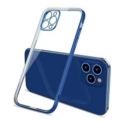 Apple iPhone 12 Pro Clear Case Luxury Plating Transparent Hard PC Back Cover (Blue)