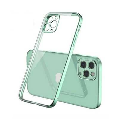 Apple iPhone 12 Pro Clear Case Luxury Plating Transparent Hard PC Back Cover (Light Green)