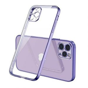 Apple iPhone 12 Pro Max Clear Case Luxury Plating Transparent Hard PC Back Cover (Purple)