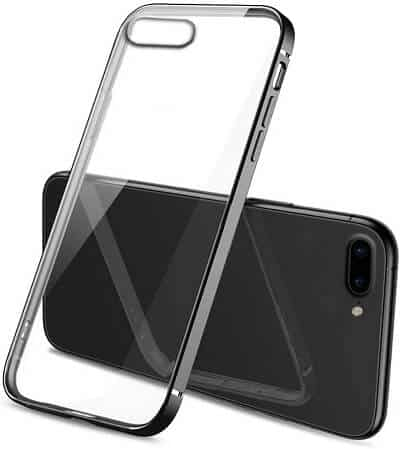 Apple iPhone 7 Plus8 Plus Clear Case Luxury Plating Transparent Hard PC Back Cover (Black)