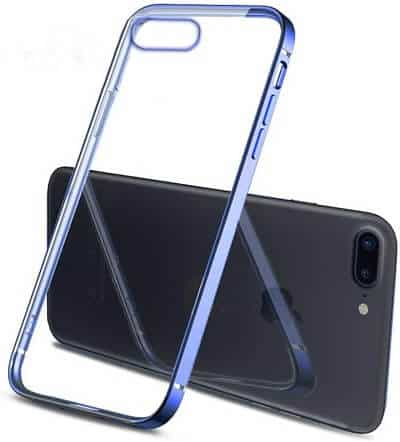 Apple iPhone 7 Plus8 Plus Clear Case Luxury Plating Transparent Hard PC Back Cover (Blue)