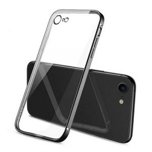 Apple iPhone 78 Clear Case Luxury Plating Transparent Hard PC Back Cover (Black)