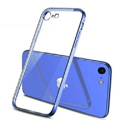 Apple iPhone 78 Clear Case Luxury Plating Transparent Hard PC Back Cover (Blue)