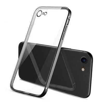 Apple iPhone SE 2020 Clear Case Luxury Plating Transparent Hard PC Back Cover (Black)