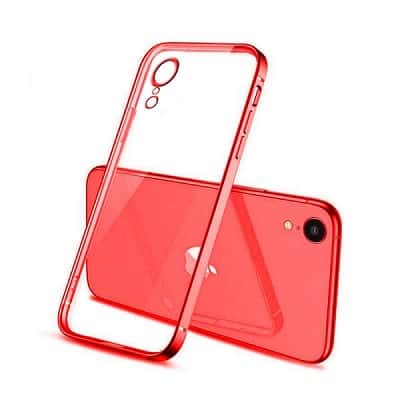 Apple iPhone XR Clear Case Luxury Plating Transparent Hard PC Back Cover (Red)