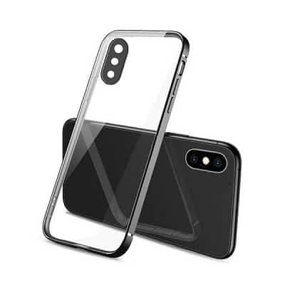Apple iPhone XS Max Clear Case Luxury Plating Transparent Hard PC Back Cover (Black)