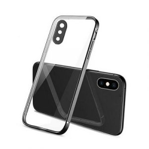 Apple iPhone XXS Clear Case Luxury Plating Transparent Hard PC Back Cover (Black)