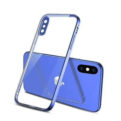 Apple iPhone XXS Clear Case Luxury Plating Transparent Hard PC Back Cover (Blue)