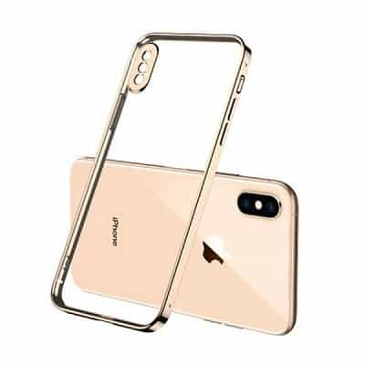 Apple iPhone XXS Clear Case Luxury Plating Transparent Hard PC Back Cover (Gold)