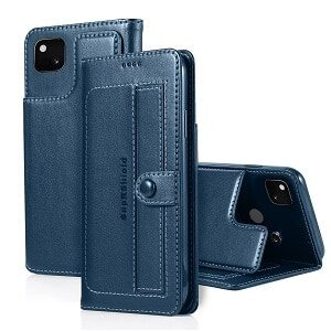 Google Pixel 4a Wallet Case Flip Leather Card Slots Magnetic Stand Cover (Navy Blue)