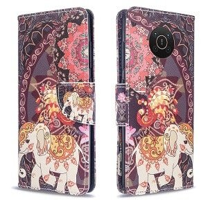 Nokia X10 Wallet Case Flip Leather Card Slots Magnetic Stand Cover (Elephant)