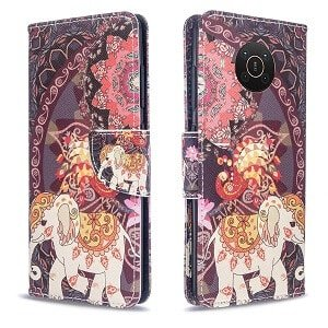 Nokia X20 Wallet Case Flip Leather Card Slots Magnetic Stand Cover (Elephant)