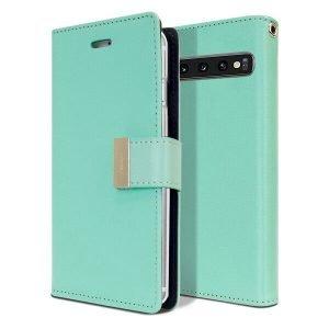 Goospery Samsung Galaxy S10 Rich Diary Aqua Wallet Case For Sale