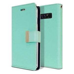 Goospery Samsung Galaxy Note 8 Rich Diary Aqua Wallet Case For Sale