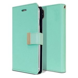 Goospery Apple iPhone X /XS Rich Diary Aqua Wallet Case For Sale