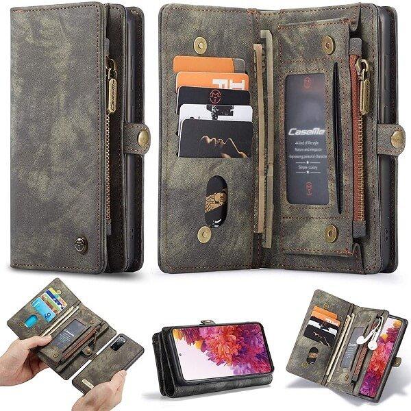 CaseMe For Samsung Galaxy S20 FE Zipper & Detachable Retro Leather Pouch Wallet Flip Purse Bag Detachable Phone Case Cover (Black)