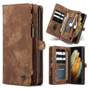 CaseMe For Samsung Galaxy S21 Ultra Zipper & Detachable Retro Leather Pouch Wallet Flip Purse Bag Detachable Phone Case Cover (Brown)