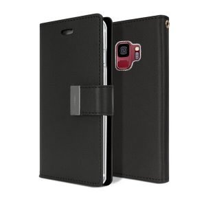 Goospery Samsung Galaxy S9 Rich Diary Black Wallet Case
