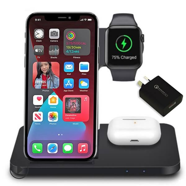15W 3in1 Qi Wireless Charging Dock Stand