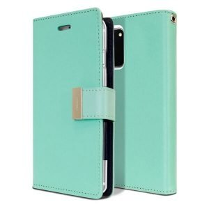 Goospery Galaxy S20 Rich Diary Aqua Wallet Case