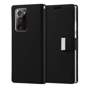 Goospery Galaxy Note 20 Ultra Rich Diary Black Wallet Case