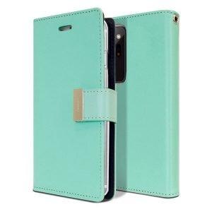 Goospery Galaxy Note 20 Ultra Rich Diary Aqua Wallet Case