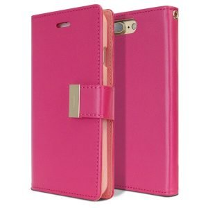 Goospery iPhone 7 Plus / 8 Plus Rich Diary Hot Pink Wallet Case