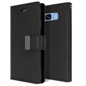 Goospery Samsung Galaxy S8 Rich Diary Black Wallet Case