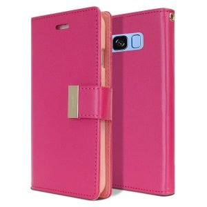 Goospery Samsung Galaxy S8 Rich Diary Hot Pink Wallet Case