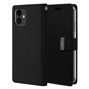 Goospery iPhone 12 Pro Max Rich Diary Black Wallet Case