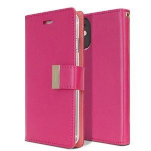 Goospery iPhone 12 Rich Diary Hot Pink Wallet Case
