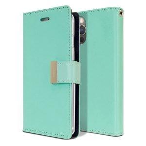 Goospery iPhone 12 Pro Max Rich Diary Aqua Wallet Case
