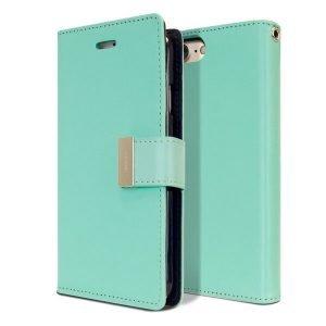 Goospery iPhone 7 /8 Rich Diary Aqua Wallet Case