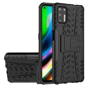 For Motorola Moto G9 Plus Heavy Duty Case Shockproof Rugged Protective Cover (Black)