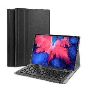 Lenovo Tab P11 Wireless Bluetooth Keyboard Case Folio Leather Smart Magnetically Detachable Cover (Black)